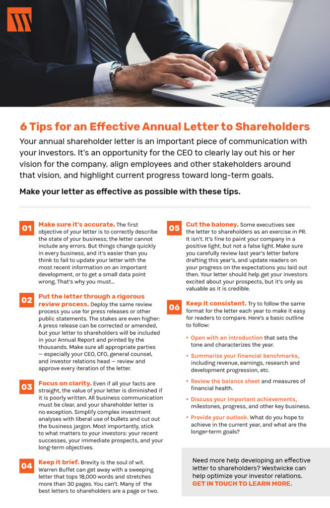 Westwicke ICR Checklist Annual Letter to Stockholders