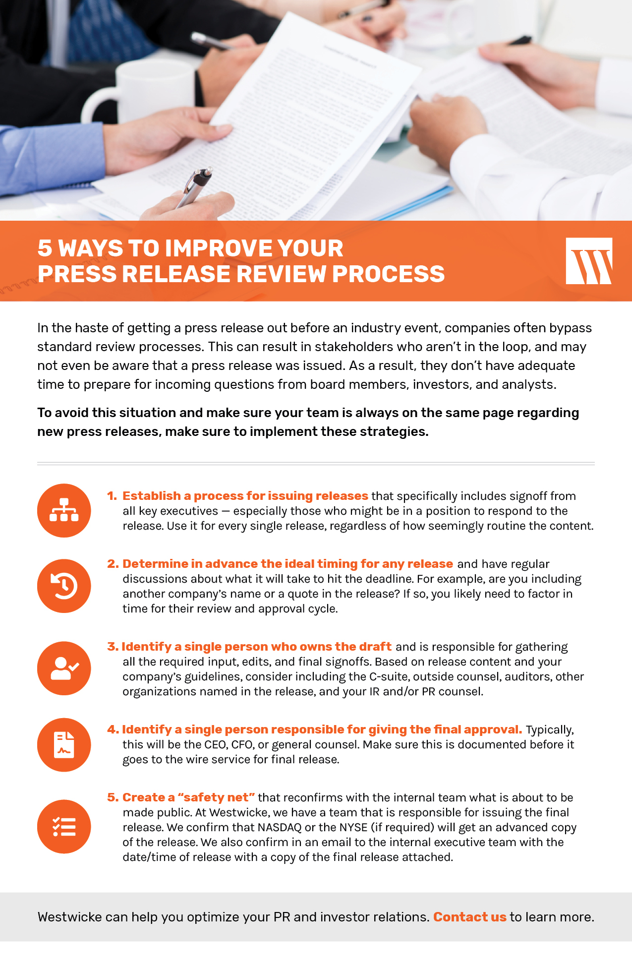 Westwicke Checklist: 5 Ways to Improve Your Press Release Review Process
