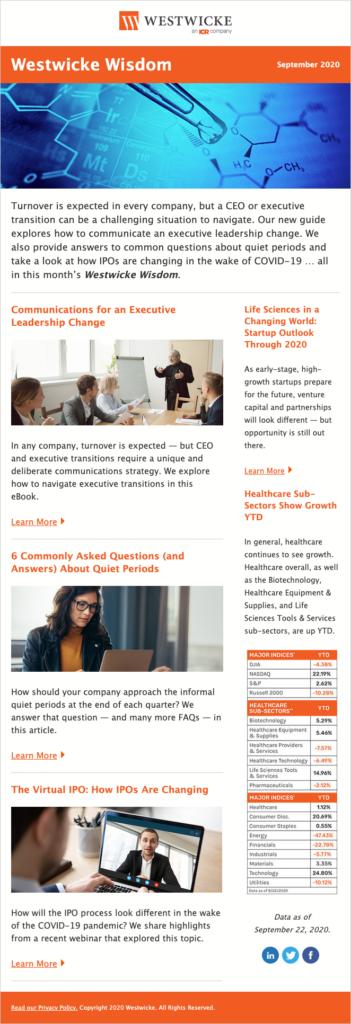 Westwicke Newsletter Sept 2020